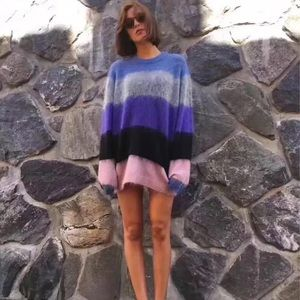Acne Studios Albah Mohair Multi Mix Stripe Sweater